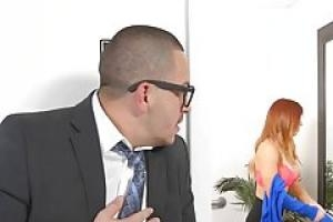 Gorgeous  red haired woman  Dani Jensen got down and dirty with her boss  in the office
