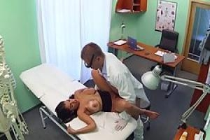 Big titted woman spread her legs wide open for her doctor  but not for a medical exam