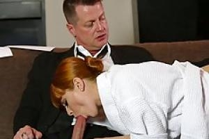 Red haired woman  Penny Pax and her husband s business partner are having casual sex during the day