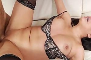 Hot milf brunette is having anal sex with a man she is in love with