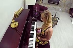 Hot blonde  Bailey Brooke is getting fucked instead of having a private piano class  at home