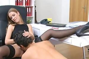 A handsome guy is fucking his future  female agent  during a casting  on the couch